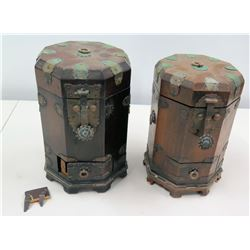 Qty 2 Vintage Wooden Decorative Cannisters