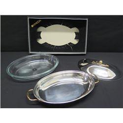 Oneida Serving Platter w/ Lid & Glass Dish