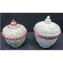 "Qty 2 Vintage Handpainted Ceramic Jars w/ Lids (taller one is 7.5""H)"