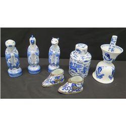 Glazed Blue & White Painted Jar, Animal Figurines, Shoes, Mortar/Pestle