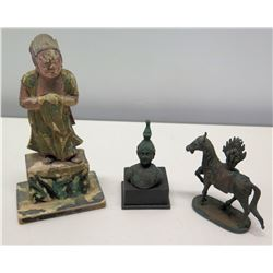 Vintage Decorative Figurines: Bronze Horse & Bust, Wooden Figure on Stand