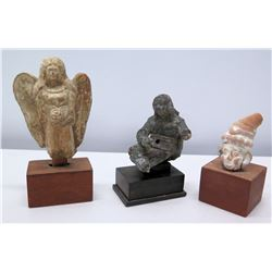 Qty 3 Antique Figurines: Clay, Metal, Wood