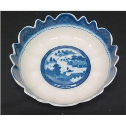 Painted Blue & White Bowl, Mottahedeh Vista Alegre (Portugal)