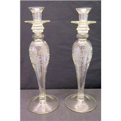 """Pair of Tapered Glass Candleholders 18"""" H"""