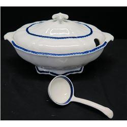Glazed White/Blue Empire Ware Tureen w/ Small Ladle