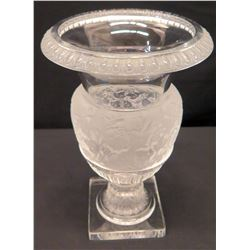 Lalique France Crystal Urn Vase on Stand with Frost & Relief Details