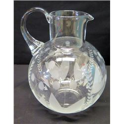 """Tiffany & Co. Pitcher with Etched Accents 8.5"""" H"""