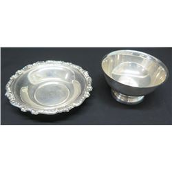 """Compote & Bowl w/Raised Border w/ Engraving """"Gov. & Mrs. George Wallace, Christmas 1984"""""""