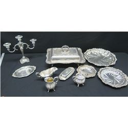 "Set of Matching Serveware, Butter Dish, Gravy Boat, Sugar Bowl, Creamer, Candelabra (""Baroque by Wal"