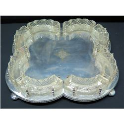 Sheffield Flat Platter w/ Removal Curved Crystal Bowls