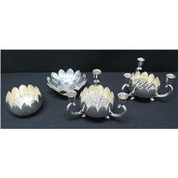 Matching Lotus Candelabras and Bowls, 4-Piece, Reed & Barton