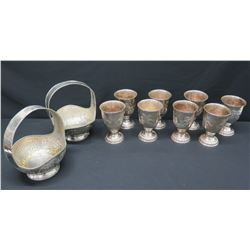 """Pair of Tall Metal Baskets & 8 Vases (Approx. 8.5"""" Tall)"""