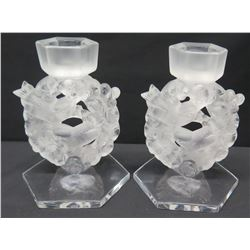 """Pair of Frosted Bird Wreath Motif Candleholders, France, Approx. 6.5""""H"""