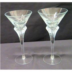 "Pair of Stemmed Tall Martini Glasses, Approx. 9"" H"