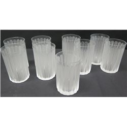 """Qty 9 Lalique Frosted Beverage Glasses, Approx. 5"""" H"""