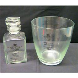 "Indianapolis 500 Glass Wine Bucket (8""H) & Decanter (8.5""H), 1998 & 2000 Winners"