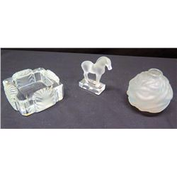 Small Frosted Lalique Tray, Horse Figurine & Fish Motif Vase