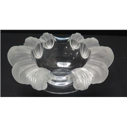 "Lalique (France) Bowl with Frosted Rim 8.5"" x 7"" x 3.5"" H"