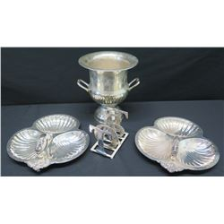 "2 Hors D'oeuvre Trays, Wine Chiller (10"" Tall), 'TOAST' Table Accent"