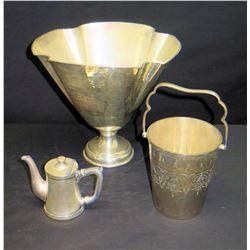 """Stemmed Bowl (10""""H), Creamer & Basket (Marked """"Eales 1779 India"""", Other Markings)"""