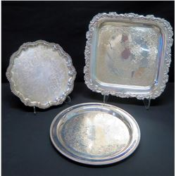 """Qty 3 Misc. Serving Platters (Marked """"Walter Wilcox International Silver"""", etc.)"""