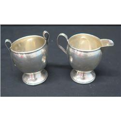 "Creamer & Sugar Bowl (Both Marked ""Sterling Cement Filled Base"")"