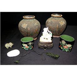Pair of Ceramic Urns, Pair of Cloisonne Jars, Carved Natural Stone Figurines, etc