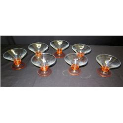 """7 Stemmed Glass Bowls, Approx. 3.5"""" H"""