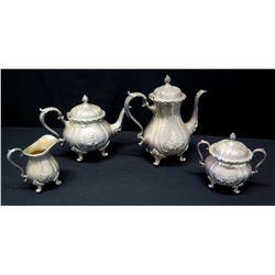 Serving Set: Creamer, Sugar Bowls,Teapot, Coffee Pot (Marked 'Webster Wilcox International Silver Co