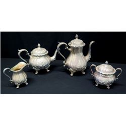 Serving Set: Creamer, Sugar Bowls,Teapot, Coffee Pot (Marked 'Webster Wilcox International Silver Co