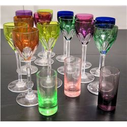 Qty 13 Small Baccarat Harcourt Rhine Crystal Stemmed Cordial Glasses, 3 Shot Glasses