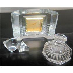Misc. Crystal: Bulova Clock, Candlestick Holder, Decanter Top
