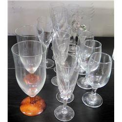 Misc. Stemmed Beverage Glasses (2 w/ Koa Wood Base from Martin & MacArthur)
