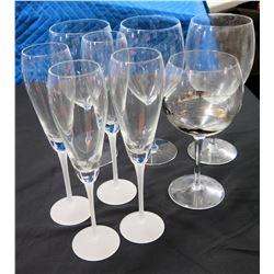 Qty 5 Champage Flutes, 2 Wine Glasses