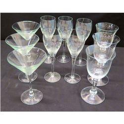 Qty 3 Martini Glasses, 8 Wine Glasses