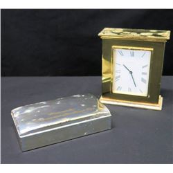 """Clock & Metal Box (6"""" H) w/ Inscription (Presented by Gov. & Mrs. David Hall - Oklahoma)"""