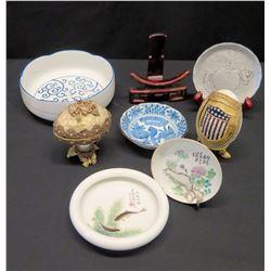 Misc. Oriental Porcelain Trays/Plates, Decorative Eggs, etc.