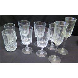 Qty 7 Stemmed Crystal Beverage Glasses & 2 Crystal Tumblers
