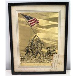 Framed Iwo Jima Scene with 1965 USMC Honorary Recruiter Certification (Alabama)