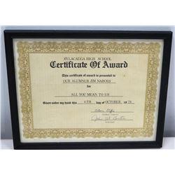 1978 Award Certificate to Jim Nabors from Sylacauga High School (Alabama)
