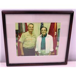 Photograph of Jim Nabors & USMC Uniformed Personnel