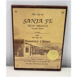 1990 Jim Nabors Santa Fe, NM 'Honorary Citizen' Appreciation Plaque
