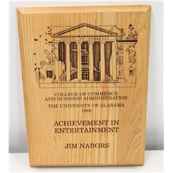 1989 Jim Nabors Achievement Plaque from University of Alabama College of Commerce & Business Adminis