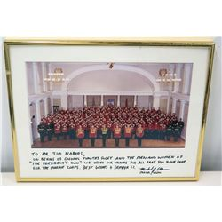 Framed Signed Photograph to Jim Nabors From Colonel Tim Foley & The President's Own, USMC