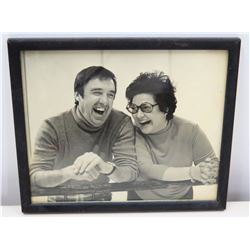 Framed Black & White Photograph of Jim Nabors & Female Friend