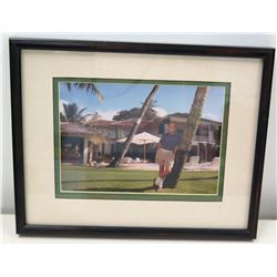 Framed Photograph of Jim Nabors at Diamond Head Home, 1993