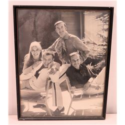 Black & White Photograph of Jim Nabors, Lou Ann Poovie, Frank Sutton and Ronnie Schell