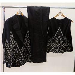 Black 3-Piece Jim Nabors Stage Costume w/ Rhinestone Embellishments, Bow Tie