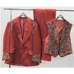 Coral 3-Piece Jim Nabors Stage Costume w/ Rhinestone Embellishments