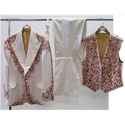White 3-Piece Jim Nabors Stage Costume w/ Orange Embroidery & Rhinestone Studs